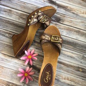 Coach wedge sandal slides classic pattern